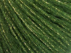 Fiber Content 67% Acrylic, 33% Metallic Lurex, Brand Ice Yarns, Green, Gold, fnt2-64415