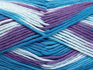 Fiber Content 100% Cotton, Turquoise Shades, Lilac, Brand Ice Yarns, Yarn Thickness 4 Medium  Worsted, Afghan, Aran, fnt2-64455