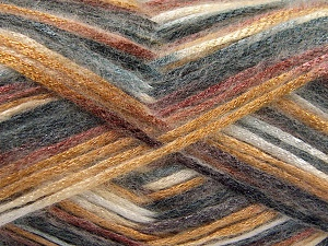 Fiber Content 70% Polyamide, 19% Wool, 11% Acrylic, White, Brand Ice Yarns, Grey Shades, Gold, Brown, Yarn Thickness 4 Medium  Worsted, Afghan, Aran, fnt2-64593