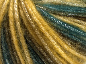 Fiber Content 56% Polyester, 44% Acrylic, Brand Ice Yarns, Green, Gold, Brown, Yarn Thickness 4 Medium  Worsted, Afghan, Aran, fnt2-64621