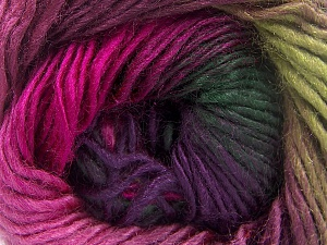 This is a self-striping yarn. Please see package photo for the color combination. Fiber Content 100% Premium Acrylic, Brand Ice Yarns, Green Shades, Fuchsia, Yarn Thickness 3 Light  DK, Light, Worsted, fnt2-64631
