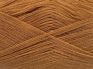 Very thin yarn. It is spinned as two threads. So you will knit as two threads. Yardage information is for only one strand. Fiber Content 100% Acrylic, Light Brown, Brand Ice Yarns, Yarn Thickness 1 SuperFine  Sock, Fingering, Baby, fnt2-65377