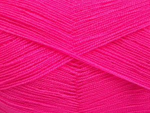 Very thin yarn. It is spinned as two threads. So you will knit as two threads. Yardage information is for only one strand. Fiber Content 100% Acrylic, Neon Pink, Brand Ice Yarns, Yarn Thickness 1 SuperFine  Sock, Fingering, Baby, fnt2-65379
