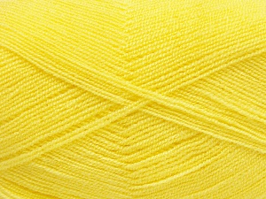 Very thin yarn. It is spinned as two threads. So you will knit as two threads. Yardage information is for only one strand. Fiber Content 100% Acrylic, Yellow, Brand Ice Yarns, Yarn Thickness 1 SuperFine  Sock, Fingering, Baby, fnt2-65382
