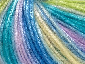 Fiber Content 56% Polyester, 44% Acrylic, Yellow, Turquoise, Lilac, Light Green, Brand Ice Yarns, Yarn Thickness 4 Medium  Worsted, Afghan, Aran, fnt2-65917