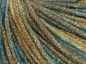 Fiber Content 40% Acrylic, 30% Metallic Lurex, 30% Wool, Teal, Khaki, Brand Ice Yarns, Brown, Yarn Thickness 4 Medium  Worsted, Afghan, Aran, fnt2-65932