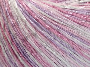 Fiber Content 70% Mercerised Cotton, 30% Viscose, White, Light Pink, Light Lilac, Brand Ice Yarns, Yarn Thickness 2 Fine  Sport, Baby, fnt2-66000