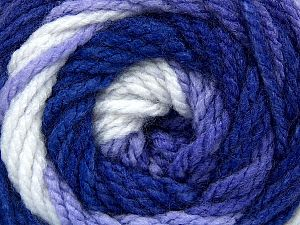 Fiber Content 100% Acrylic, White, Purple Shades, Brand Ice Yarns, Yarn Thickness 4 Medium  Worsted, Afghan, Aran, fnt2-66053