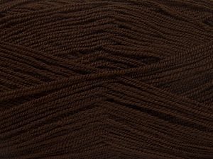 Very thin yarn. It is spinned as two threads. So you will knit as two threads. Yardage information is for only one strand. Fiber Content 100% Acrylic, Brand Ice Yarns, Dark Brown, Yarn Thickness 1 SuperFine  Sock, Fingering, Baby, fnt2-66135