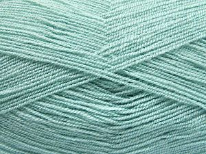 Very thin yarn. It is spinned as two threads. So you will knit as two threads. Yardage information is for only one strand. Fiber Content 100% Acrylic, Water Green, Brand Ice Yarns, Yarn Thickness 1 SuperFine  Sock, Fingering, Baby, fnt2-66139