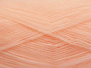 Very thin yarn. It is spinned as two threads. So you will knit as two threads. Yardage information is for only one strand. Fiber Content 100% Acrylic, Light Salmon, Brand Ice Yarns, Yarn Thickness 1 SuperFine  Sock, Fingering, Baby, fnt2-66153