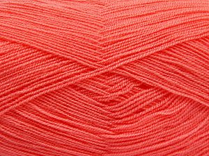 Very thin yarn. It is spinned as two threads. So you will knit as two threads. Yardage information is for only one strand. Fiber Content 100% Acrylic, Light Orange, Brand Ice Yarns, Yarn Thickness 1 SuperFine  Sock, Fingering, Baby, fnt2-66154