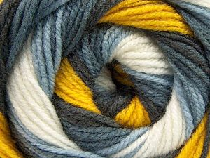 Fiber Content 100% Acrylic, Yellow, White, Brand Ice Yarns, Grey Shades, Yarn Thickness 3 Light  DK, Light, Worsted, fnt2-66545