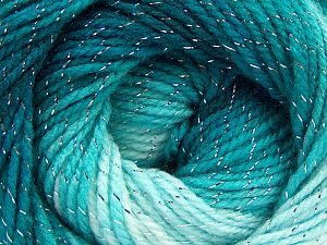 Fiber Content 95% Acrylic, 5% Lurex, Turquoise Shades, Brand Ice Yarns, Yarn Thickness 3 Light  DK, Light, Worsted, fnt2-66546