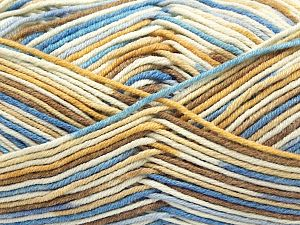Fiber Content 50% Cotton, 50% Acrylic, Brand Ice Yarns, Cream, Camel, Blue Shades, Yarn Thickness 2 Fine  Sport, Baby, fnt2-66579