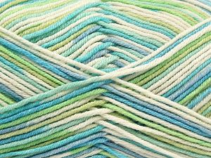 Fiber Content 50% Cotton, 50% Acrylic, Turquoise, Brand Ice Yarns, Green, Cream, Blue, Yarn Thickness 2 Fine  Sport, Baby, fnt2-66581