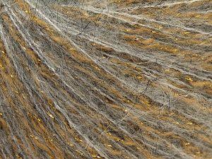 Fiber Content 30% Wool, 30% Acrylic, 15% Alpaca Superfine, 15% Polyamide, 10% Metallic Lurex, Light Grey, Brand Ice Yarns, Gold, fnt2-66799