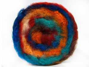 Fiber Content 95% Premium Acrylic, 5% Mohair, Turquoise Shades, Red, Orange Shades, Brand Ice Yarns, Yarn Thickness 5 Bulky  Chunky, Craft, Rug, fnt2-67128