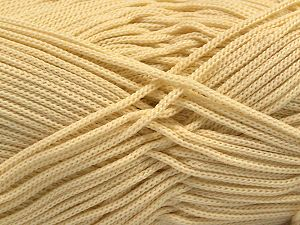 Width is 2-3 mm Fiber Content 100% Polyester, Brand Ice Yarns, Dark Cream, fnt2-67140