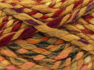 Fiber Content 75% Acrylic, 25% Wool, Red, Pink, Brand Ice Yarns, Dark Green, Cream, Caramel, Yarn Thickness 6 SuperBulky  Bulky, Roving, fnt2-67154