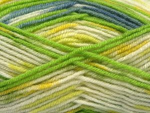 Fiber Content 75% Premium Acrylic, 25% Wool, Yellow, White, Indigo Blue, Brand Ice Yarns, Green Shades, Yarn Thickness 3 Light  DK, Light, Worsted, fnt2-67253