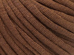 This is a tube-like yarn with soft cotton fleece filled inside. Fiber Content 70% Cotton, 30% Polyester, Brand Ice Yarns, Dark Brown, Yarn Thickness 5 Bulky  Chunky, Craft, Rug, fnt2-67305