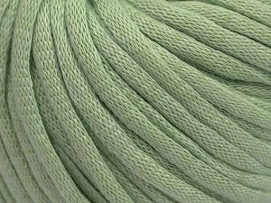 This is a tube-like yarn with soft cotton fleece filled inside. Fiber Content 70% Cotton, 30% Polyester, Light Mint Green, Brand Ice Yarns, Yarn Thickness 5 Bulky  Chunky, Craft, Rug, fnt2-67320