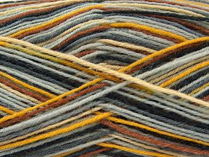 Fiber Content 75% Superwash Wool, 25% Polyamide, Brand Ice Yarns, Grey Shades, Gold, Brown Shades, Yarn Thickness 1 SuperFine  Sock, Fingering, Baby, fnt2-67404