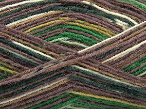 Fiber Content 75% Superwash Wool, 25% Polyamide, Smoke Brown, Brand Ice Yarns, Green Shades, Cream, Blue, Yarn Thickness 1 SuperFine  Sock, Fingering, Baby, fnt2-67405