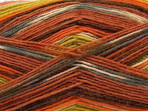 Fiber Content 75% Superwash Wool, 25% Polyamide, Orange, Brand Ice Yarns, Grey, Green, Cream, Copper, Yarn Thickness 1 SuperFine  Sock, Fingering, Baby, fnt2-67414