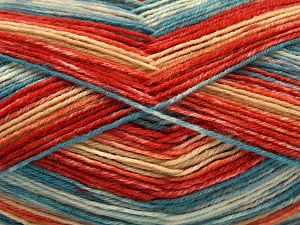 Fiber Content 75% Superwash Wool, 25% Polyamide, Turquoise, Orange Shades, Brand Ice Yarns, Cream, Yarn Thickness 1 SuperFine  Sock, Fingering, Baby, fnt2-67417