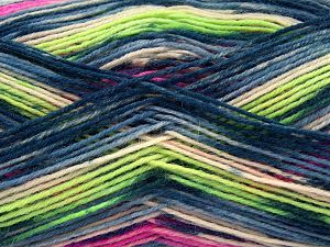 Fiber Content 75% Superwash Wool, 25% Polyamide, Neon Green, Brand Ice Yarns, Fuchsia, Cream, Blue Shades, Yarn Thickness 1 SuperFine  Sock, Fingering, Baby, fnt2-67419