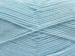 Cold Rinse. Short spin. Do not wring. Do not iron. Dry cleanable. Do not bleach. Fiber Content 55% Acrylic, 45% Nylon, Brand Ice Yarns, Baby Blue, fnt2-67651