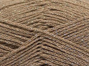 Fiber Content 88% Cotton, 12% Metallic Lurex, Light Camel, Brand Ice Yarns, fnt2-67831