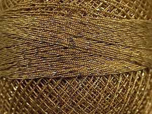 Fiber Content 70% Polyester, 30% Metallic Lurex, Brand YarnArt, Light Brown, Gold, Yarn Thickness 0 Lace  Fingering Crochet Thread, fnt2-17352