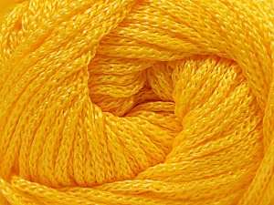 Width is 2-3 mm Fiber Content 100% Polyester, Yellow, Brand Ice Yarns, fnt2-21649
