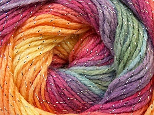 Fiber Content 95% Acrylic, 5% Lurex, Yellow, Salmon, Purple, Orchid, Brand Ice Yarns, Green, Yarn Thickness 3 Light  DK, Light, Worsted, fnt2-22058