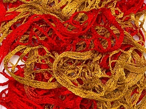 A beautiful new scarf yarn. One ball is enough to make a beautiful scarf. Knitting instructions are included! Fiber Content 100% Acrylic, Red, Brand Ice Yarns, Gold, Yarn Thickness 6 SuperBulky  Bulky, Roving, fnt2-22297