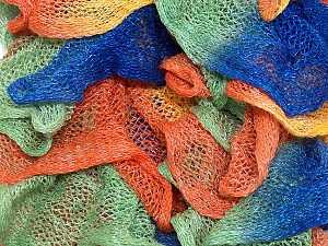 A fresh scarf  yarn wiith cotton content. Shiny and fresh! Fiber Content 70% Cotton, 30% Nylon, Orange, Brand Ice Yarns, Green, Blue, Yarn Thickness 6 SuperBulky  Bulky, Roving, fnt2-23320