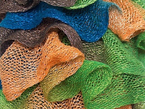 A fresh scarf  yarn wiith cotton content. Shiny and fresh! Fiber Content 70% Cotton, 30% Nylon, Brand Ice Yarns, Green, Gold, Brown, Blue, Yarn Thickness 6 SuperBulky  Bulky, Roving, fnt2-23887