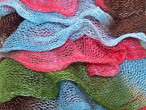 A fresh scarf  yarn wiith cotton content. Shiny and fresh! Fiber Content 70% Cotton, 30% Nylon, Pink, Brand Ice Yarns, Green, Brown, Blue, Yarn Thickness 6 SuperBulky  Bulky, Roving, fnt2-25146