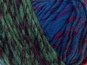 Fiber Content 60% Wool, 40% Acrylic, Turquoise, Red, Brand Ice Yarns, Green Shades, Fuchsia, Blue Shades, Yarn Thickness 4 Medium  Worsted, Afghan, Aran, fnt2-34612