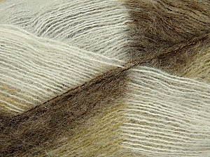 Fiber Content 70% Mohair, 30% Acrylic, White, Brand Ice Yarns, Green, Camel, Yarn Thickness 3 Light  DK, Light, Worsted, fnt2-35064