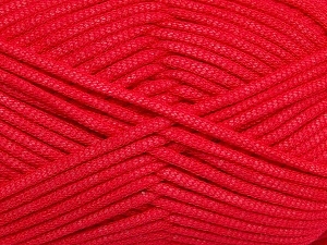 This is a tube-like yarn with soft fleece inside. Fiber Content 73% Viscose, 27% Polyester, Tomato Red, Brand Ice Yarns, Yarn Thickness 5 Bulky  Chunky, Craft, Rug, fnt2-35605