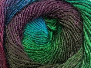 Fiber Content 50% Acrylic, 50% Wool, Turquoise, Brand Ice Yarns, Green, Brown, Yarn Thickness 2 Fine  Sport, Baby, fnt2-40632