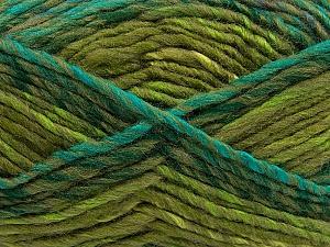 Fiber Content 75% Acrylic, 25% Wool, Turquoise, Khaki, Brand Ice Yarns, Green Shades, Yarn Thickness 5 Bulky  Chunky, Craft, Rug, fnt2-40818