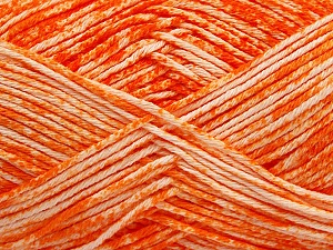Strong pure cotton yarn in beautiful colours, reminiscent of bleached denim. Machine washable and dryable. Fiber Content 100% Cotton, White, Orange, Brand Ice Yarns, Yarn Thickness 3 Light  DK, Light, Worsted, fnt2-42561