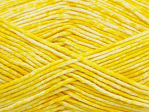 Strong pure cotton yarn in beautiful colours, reminiscent of bleached denim. Machine washable and dryable. Fiber Content 100% Cotton, Yellow, White, Brand Ice Yarns, Yarn Thickness 3 Light  DK, Light, Worsted, fnt2-42562