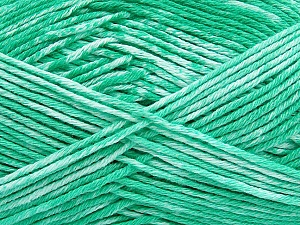 Strong pure cotton yarn in beautiful colours, reminiscent of bleached denim. Machine washable and dryable. Fiber Content 100% Cotton, White, Mint Green, Brand Ice Yarns, Yarn Thickness 3 Light  DK, Light, Worsted, fnt2-42564