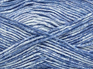 Strong pure cotton yarn in beautiful colours, reminiscent of bleached denim. Machine washable and dryable. Fiber Content 100% Cotton, White, Indigo Blue, Brand Ice Yarns, Yarn Thickness 3 Light  DK, Light, Worsted, fnt2-42571